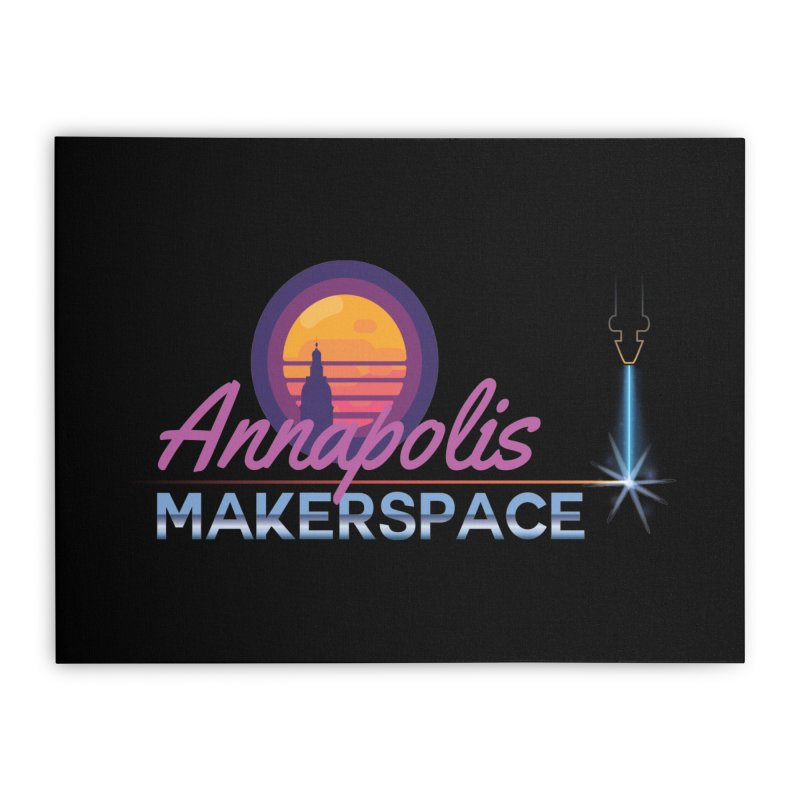Retro Laser Home Stretched Canvas by Annapolis Makerspace's Shop