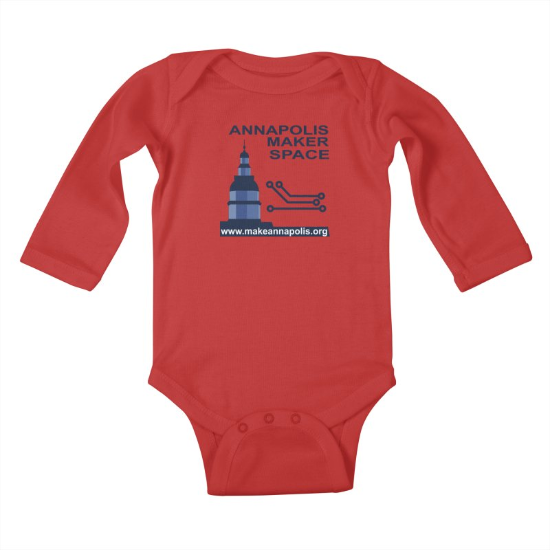 Logo - Full Kids Baby Longsleeve Bodysuit by Annapolis Makerspace's Shop