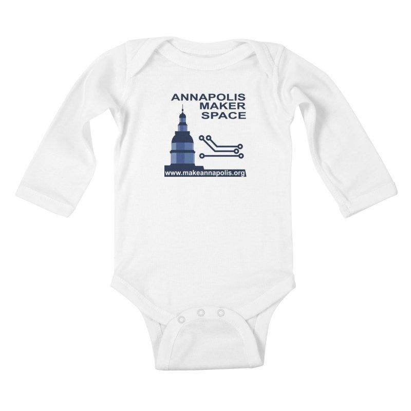Logo - Full Kids Baby Longsleeve Bodysuit by Annapolis Makerspace's Shop