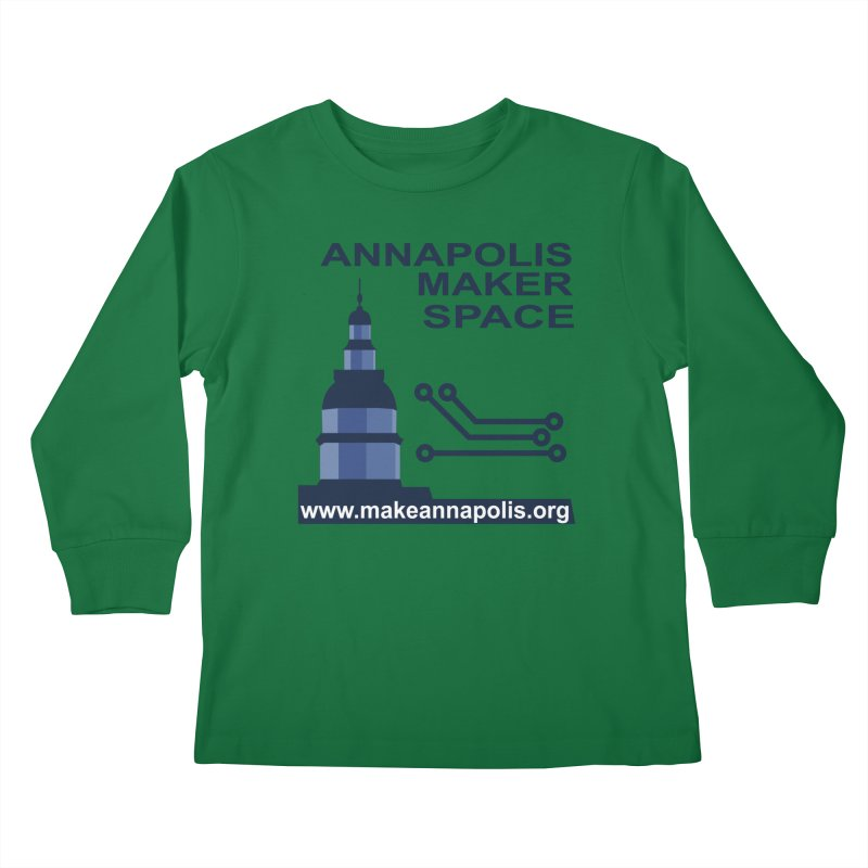 Logo - Full Kids Longsleeve T-Shirt by Annapolis Makerspace's Shop
