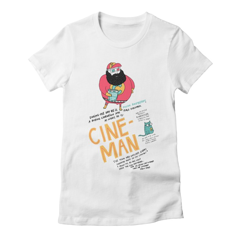 Cineman Women's Fitted T-Shirt by MAKI Artist Shop