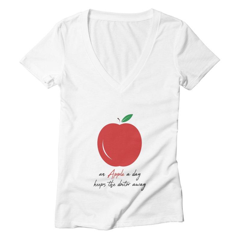 Apple Day! Women's V-Neck by malayali