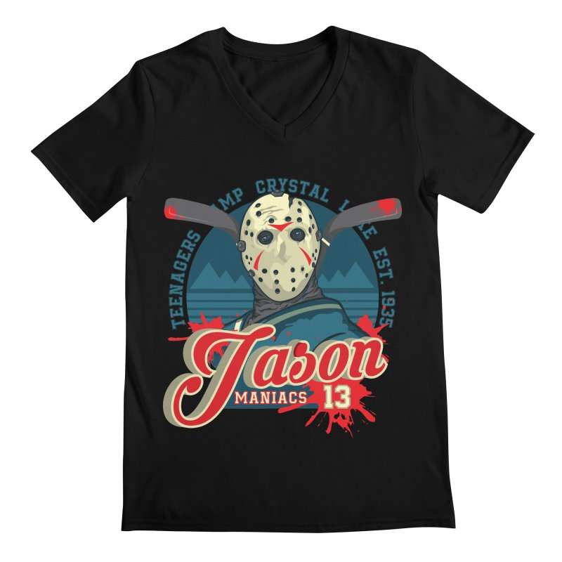 Jason Maniacs Men's Regular V-Neck by malgusto