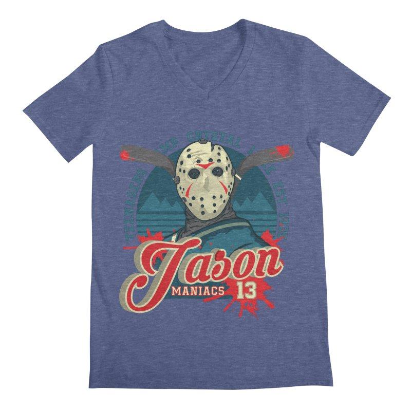 Jason Maniacs Men's V-Neck by malgusto