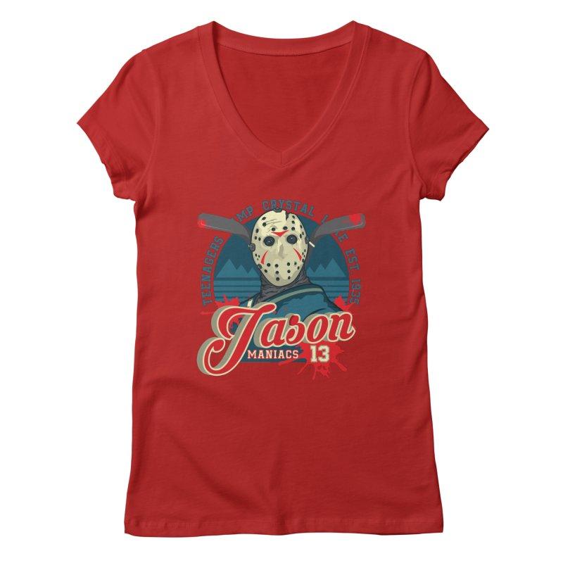Jason Maniacs Women's V-Neck by malgusto