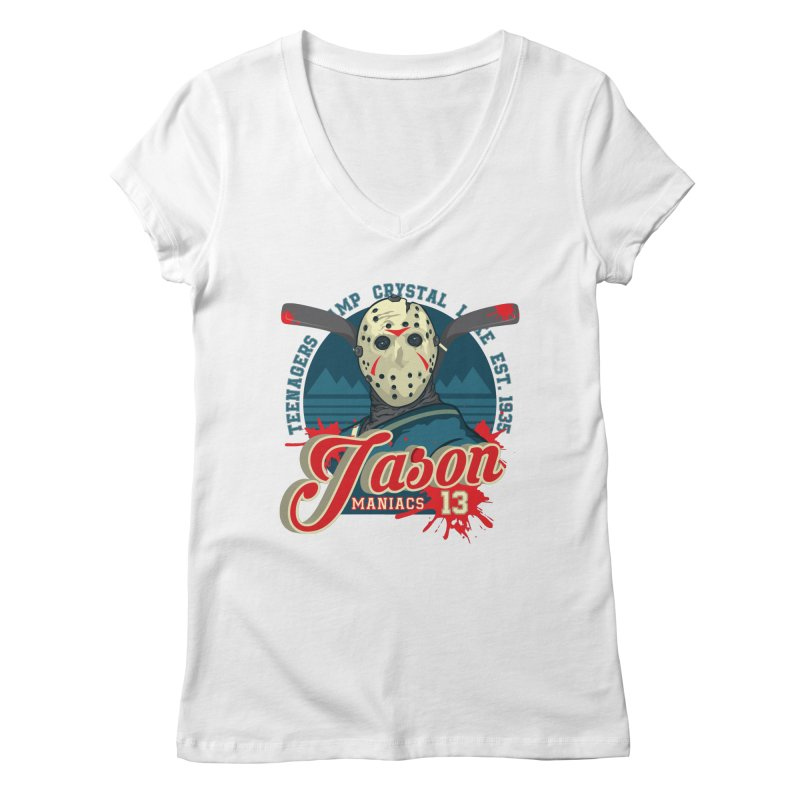 Jason Maniacs Women's V-Neck by malgusto