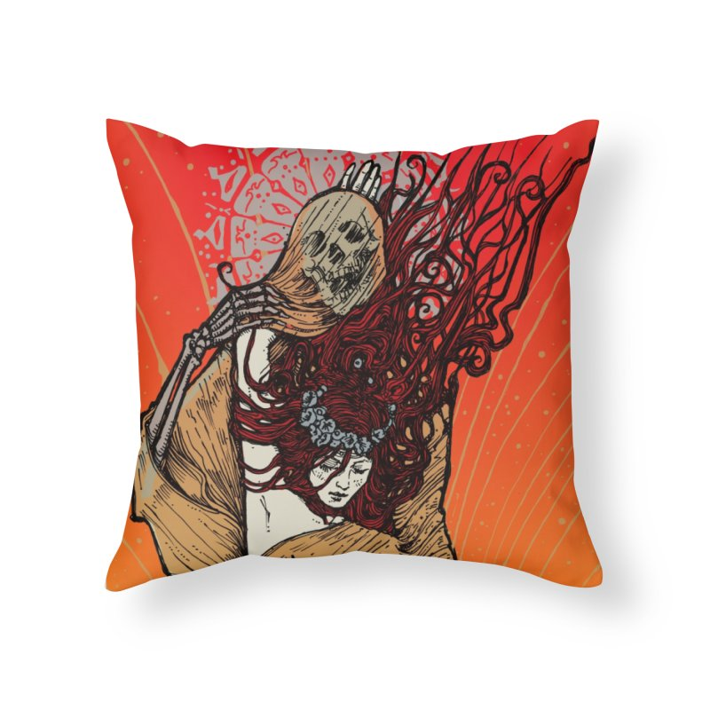 DOWN IN A HOLE in Throw Pillow by MALLEUS ROCK ART LAB
