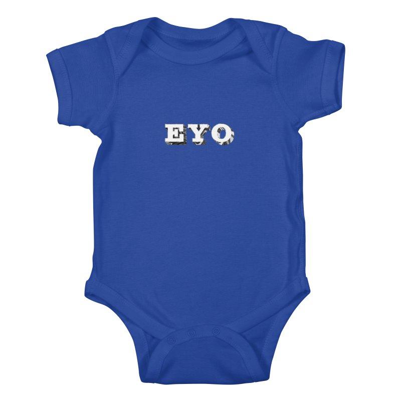 "EYO (WHITE TEXT) (Pronunciation ""A-O"") Kids Baby Bodysuit by malsarthegreat's Artist Shop"