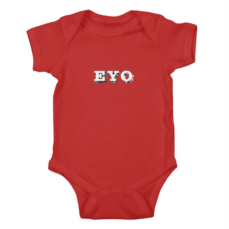 "EYO (WHITE TEXT) (Pronunciation ""A-O"") Kids Baby Bodysuit by malsarthegreat's Artist Shop"