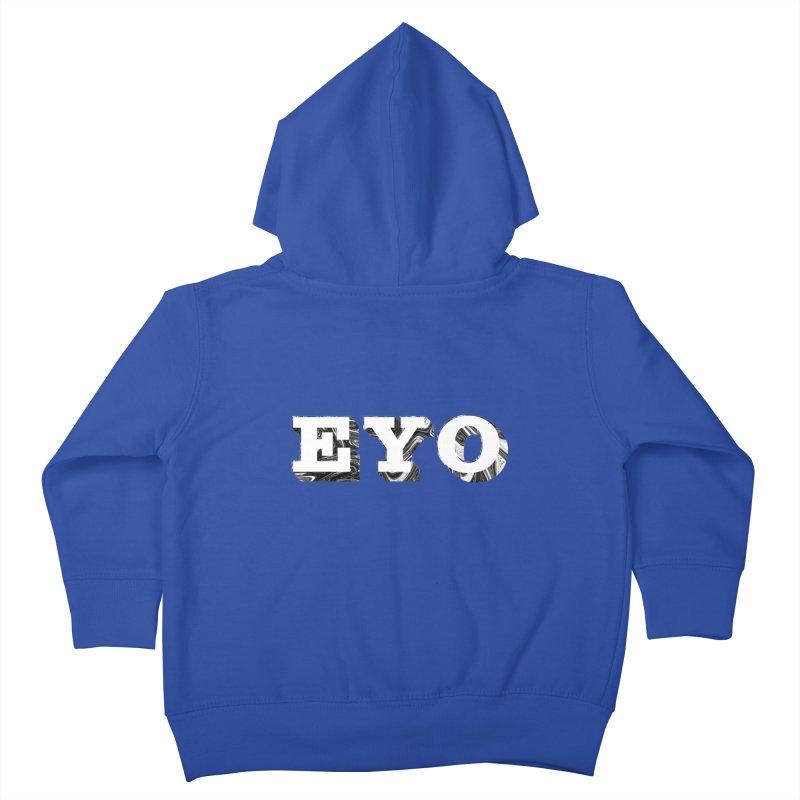 "EYO (WHITE TEXT) (Pronunciation ""A-O"") Kids Toddler Zip-Up Hoody by malsarthegreat's Artist Shop"