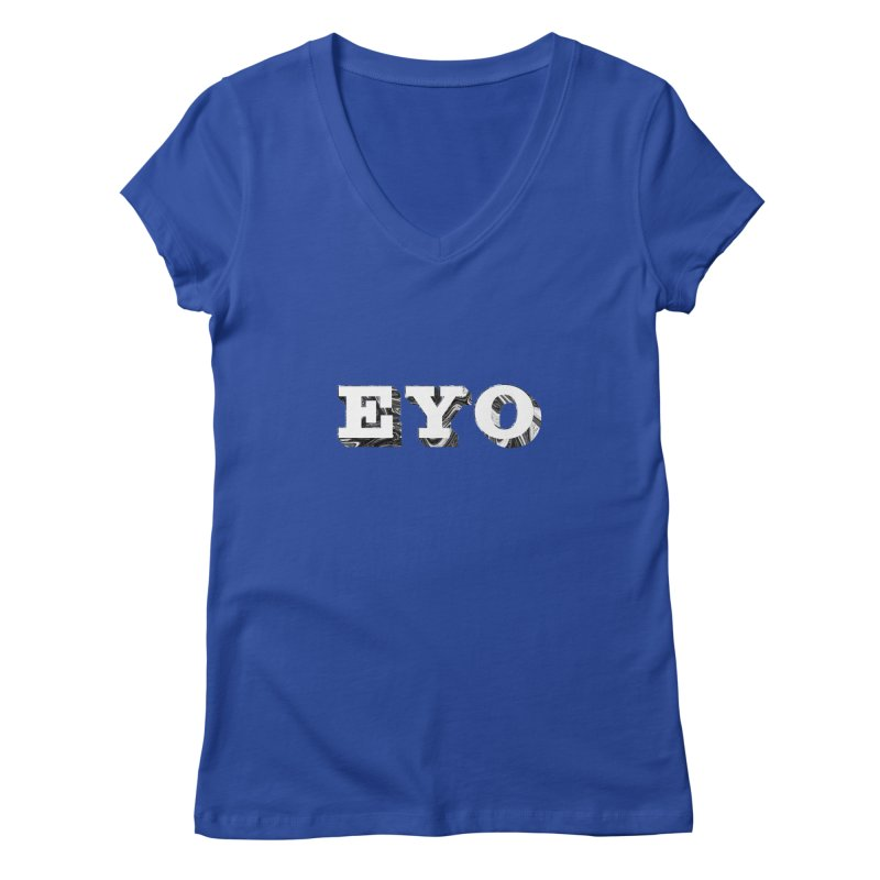 "EYO (WHITE TEXT) (Pronunciation ""A-O"") Women's V-Neck by malsarthegreat's Artist Shop"