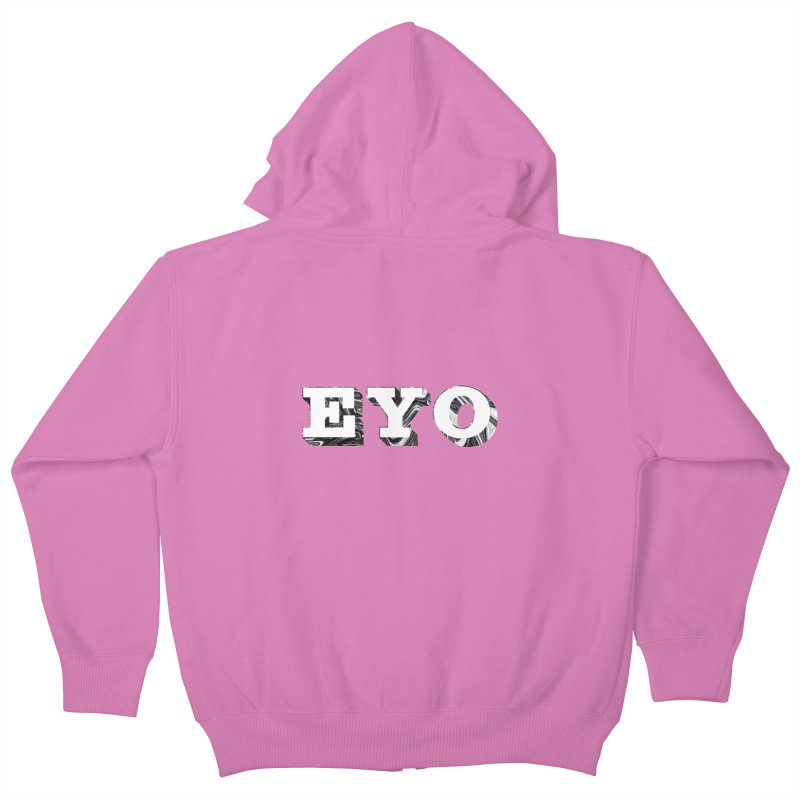 "EYO (WHITE TEXT) (Pronunciation ""A-O"") Kids Zip-Up Hoody by malsarthegreat's Artist Shop"