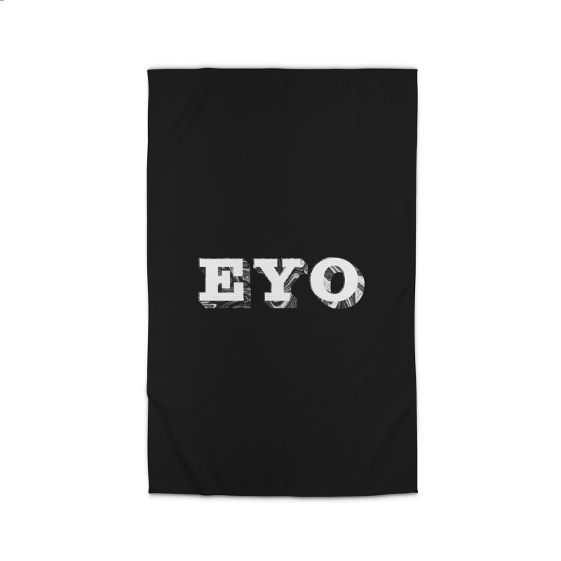 "EYO (WHITE TEXT) (Pronunciation ""A-O"") Home Rug by malsarthegreat's Artist Shop"