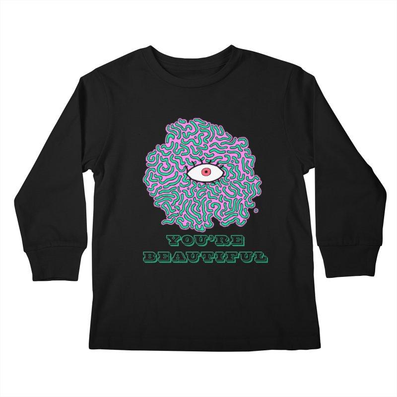 You're Beautiful (Black Only Design) Kids Longsleeve T-Shirt by malsarthegreat's Artist Shop