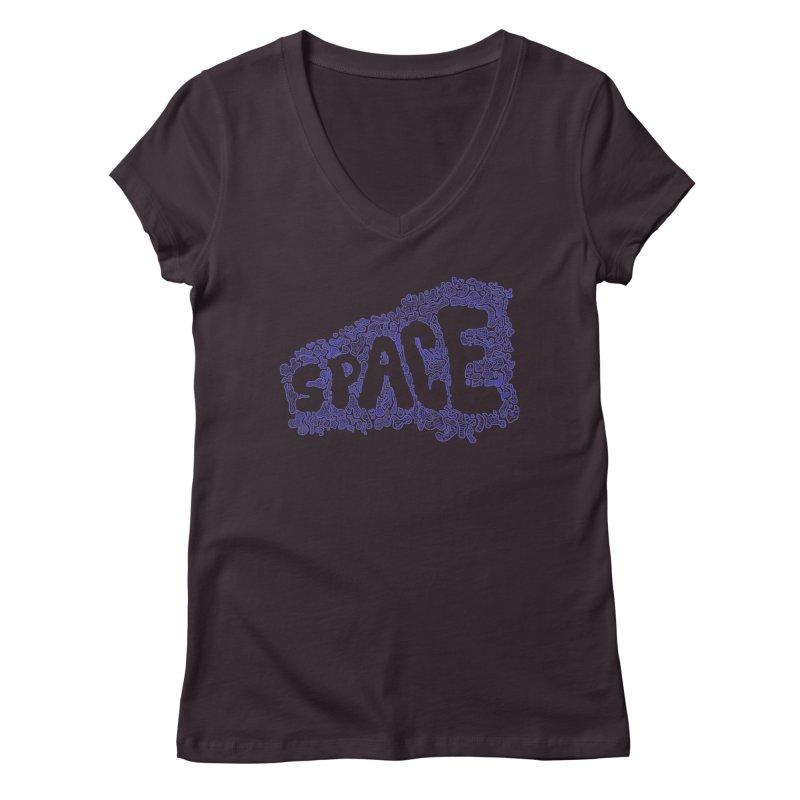 Negative Space (BLUE) Women's V-Neck by malsarthegreat's Artist Shop