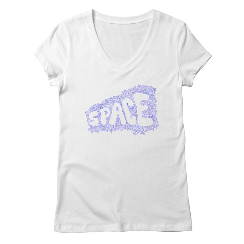Negative Space (BLUE) Women's V-Neck by malsarthegreat's Artist Shop