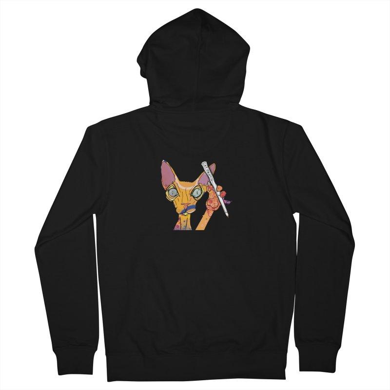 cat pencil  Men's Zip-Up Hoody by mandascats's Shop