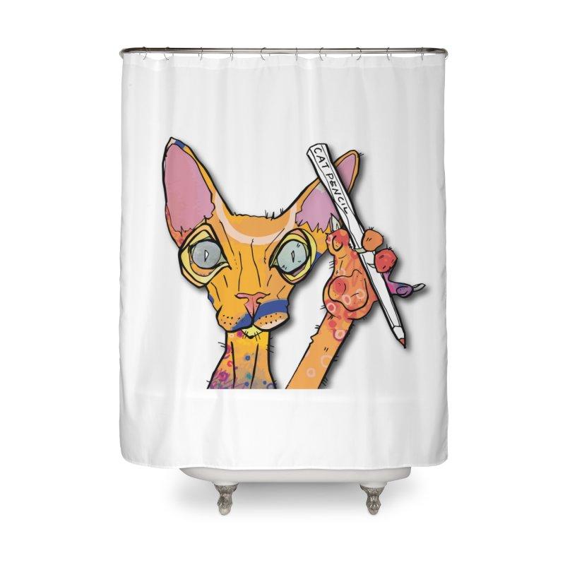 cat pencil  Home Shower Curtain by mandascats's Shop