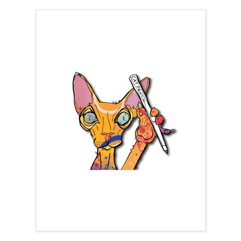 cat pencil  Home Fine Art Print by mandascats's Shop