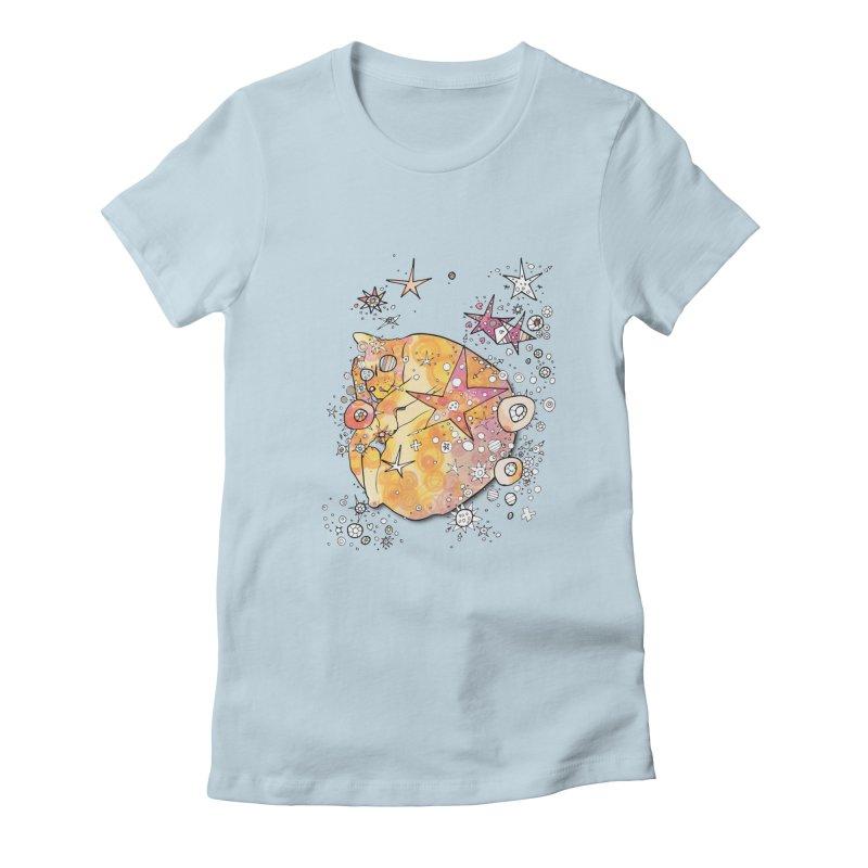 Cat with stars  Women's T-Shirt by mandascats's Shop