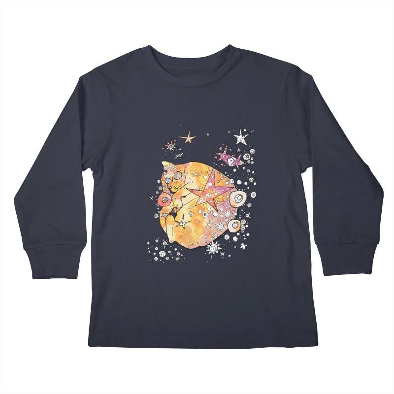 Cat with stars  Kids Longsleeve T-Shirt by mandascats's Shop