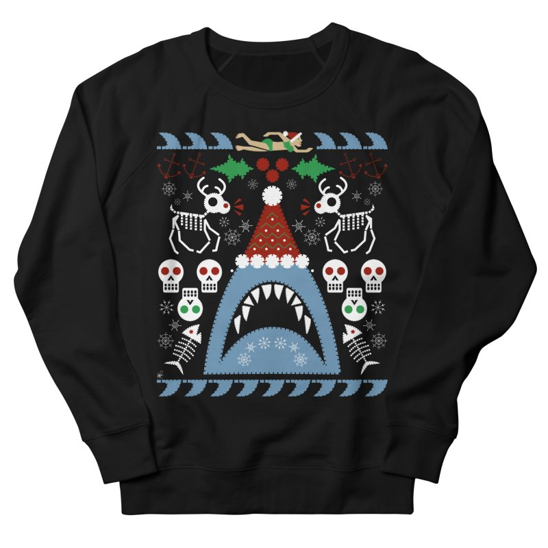 Santa Jaws Ugly Sweater in Women's French Terry Sweatshirt Black by Armando Padilla Artist Shop
