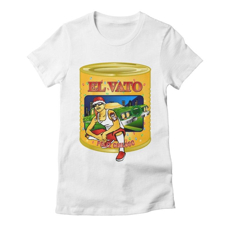 Santa Vato Women's Fitted T-Shirt by Armando Padilla Artist Shop
