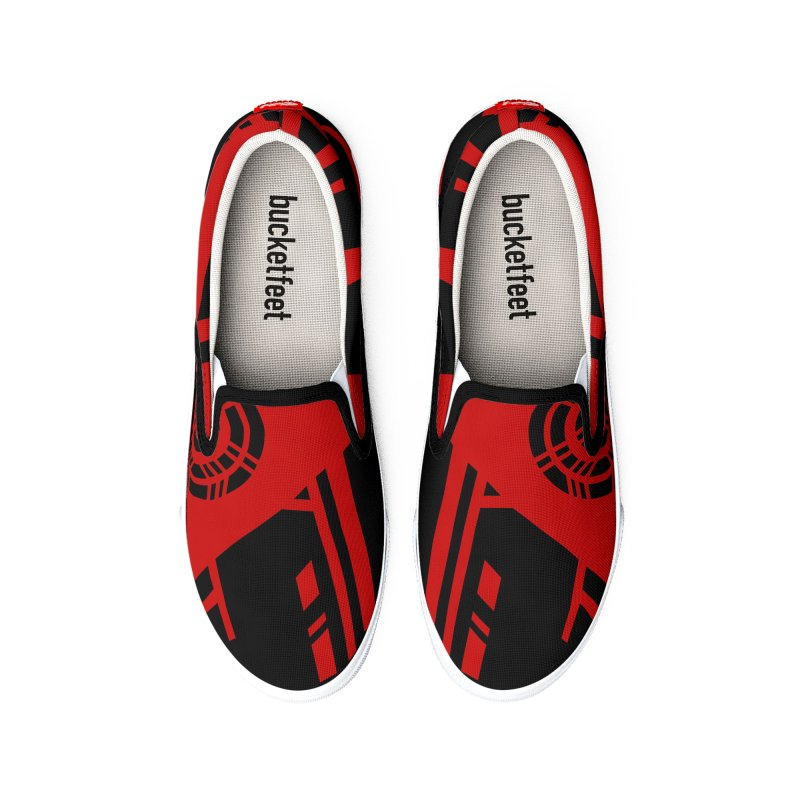 MP Guitar Stripes & Circles Red Men's Shoes by Armando Padilla Artist Shop