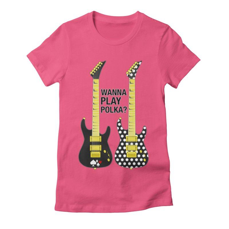 Polka Guitar Women's Fitted T-Shirt by Armando Padilla Artist Shop