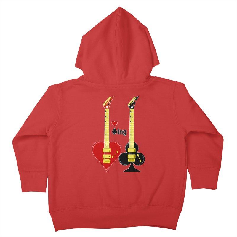 Guitars Love Clubbing Kids Toddler Zip-Up Hoody by Armando Padilla Artist Shop