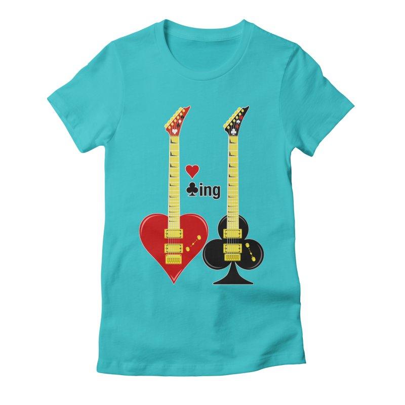 Guitars Love Clubbing Women's Fitted T-Shirt by Armando Padilla Artist Shop
