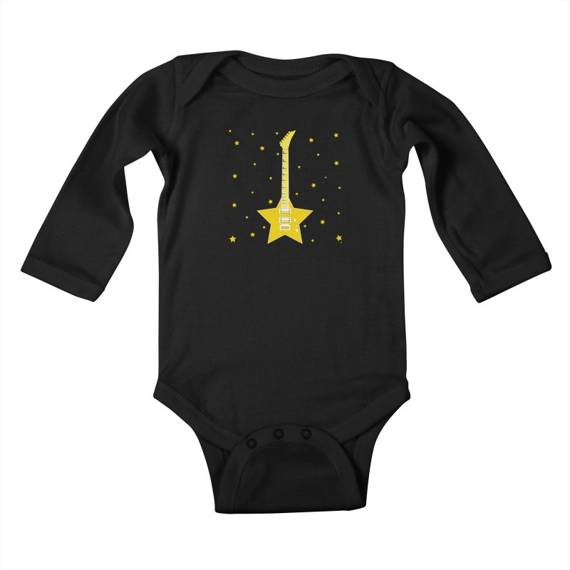 Star Guitar Kids Baby Longsleeve Bodysuit by Armando Padilla Artist Shop
