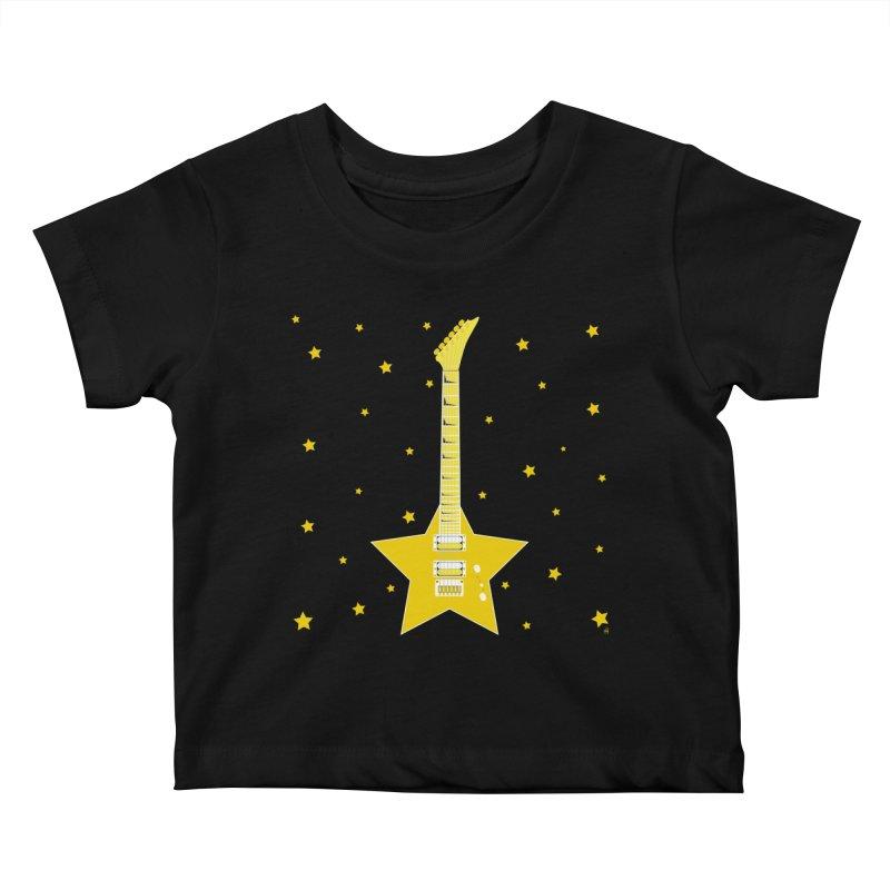Star Guitar Kids Baby T-Shirt by Armando Padilla Artist Shop