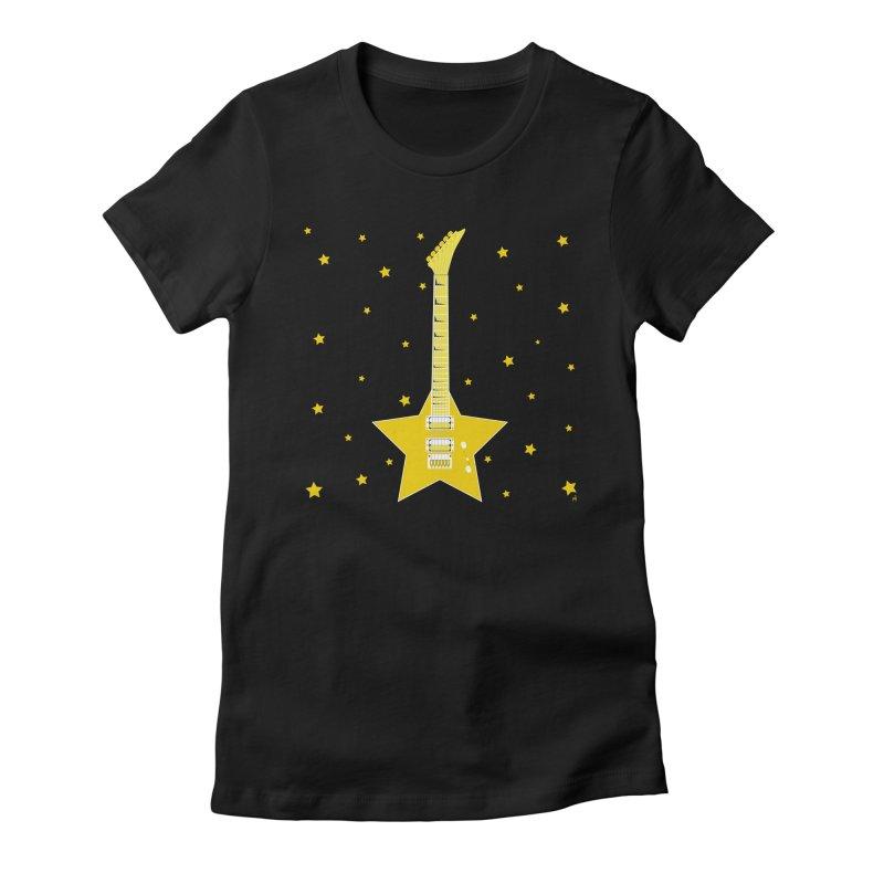 Star Guitar Women's Fitted T-Shirt by Armando Padilla Artist Shop