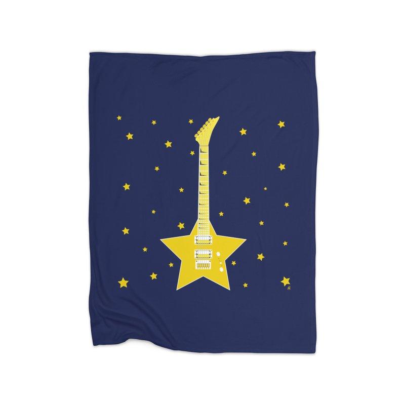 Star Guitar Home Fleece Blanket Blanket by Armando Padilla Artist Shop