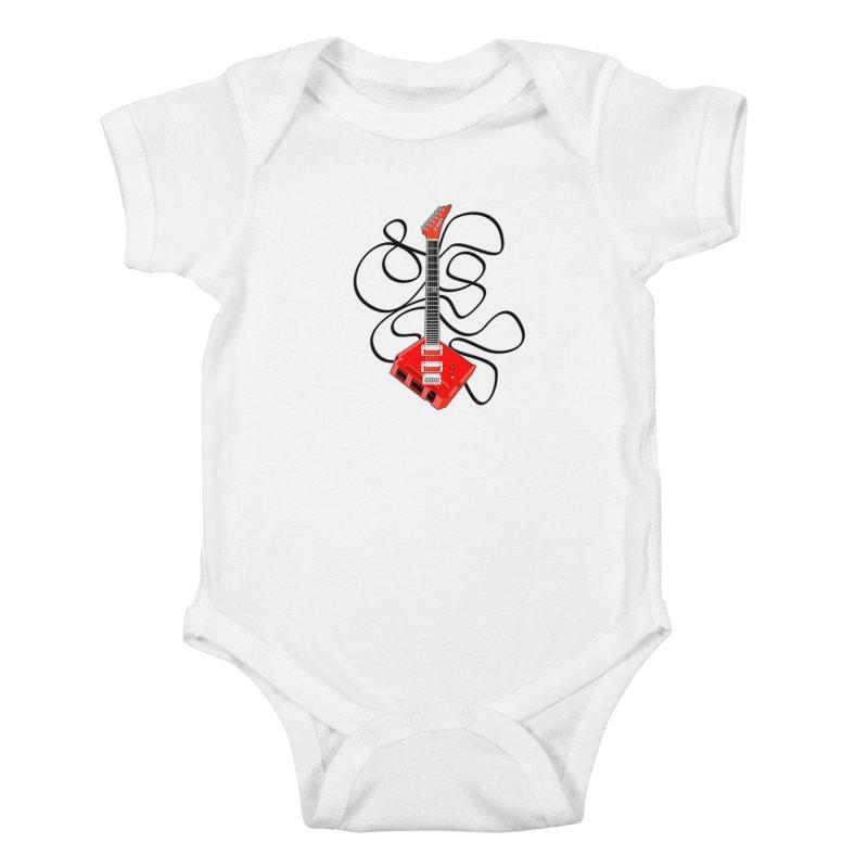 8-Track Guitar Kids Baby Bodysuit by Armando Padilla Artist Shop