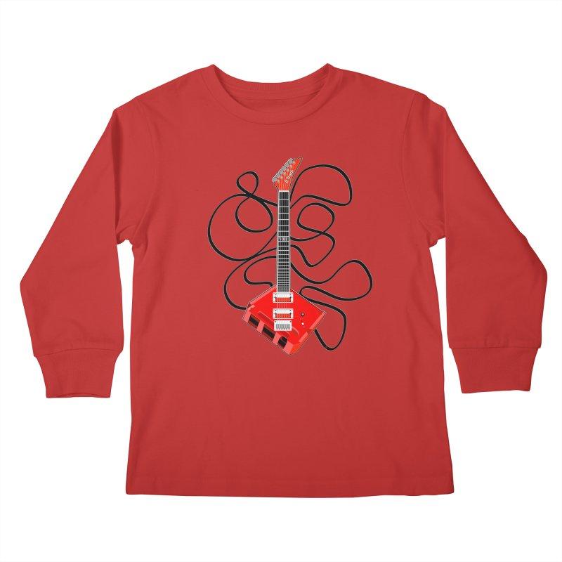 8-Track Guitar Kids Longsleeve T-Shirt by Armando Padilla Artist Shop