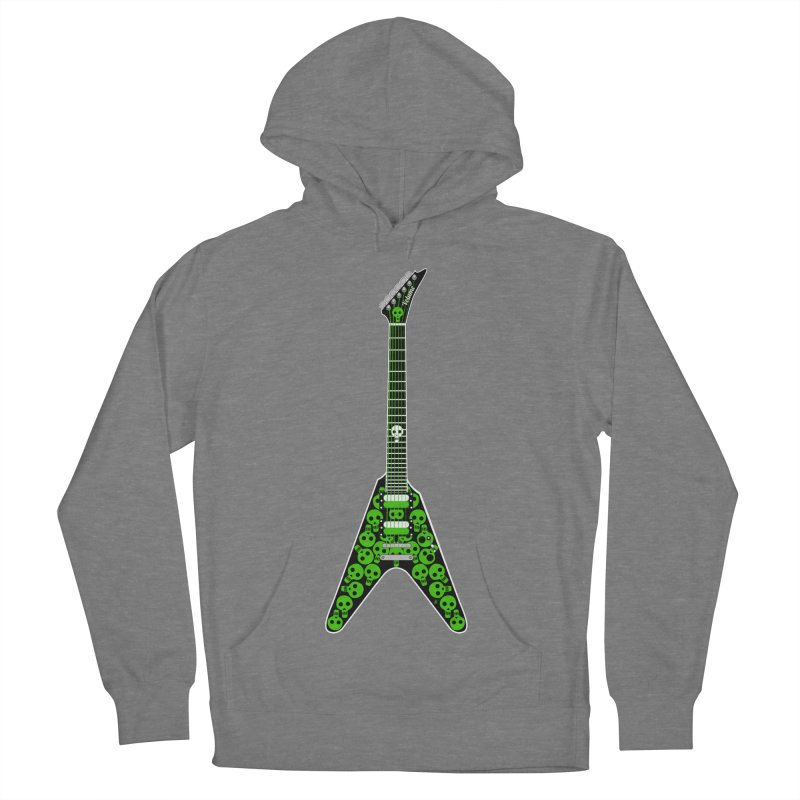 Slime Green Skulls Women's French Terry Pullover Hoody by Armando Padilla Artist Shop