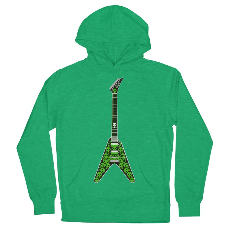 Slime Green Skulls Men's French Terry Pullover Hoody by Armando Padilla Artist Shop