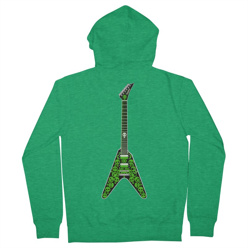 Slime Green Skulls Men's French Terry Zip-Up Hoody by Armando Padilla Artist Shop