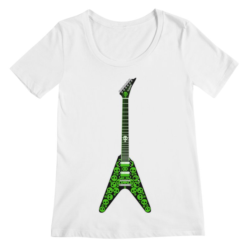 Slime Green Skulls Women's Regular Scoop Neck by Armando Padilla Artist Shop