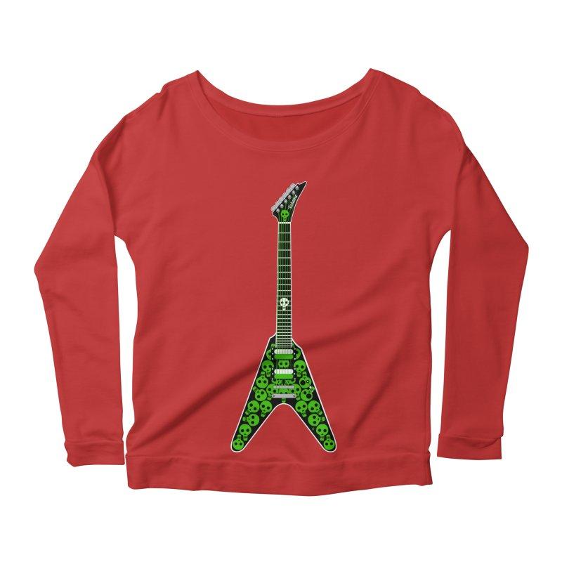 Slime Green Skulls Women's Scoop Neck Longsleeve T-Shirt by Armando Padilla Artist Shop