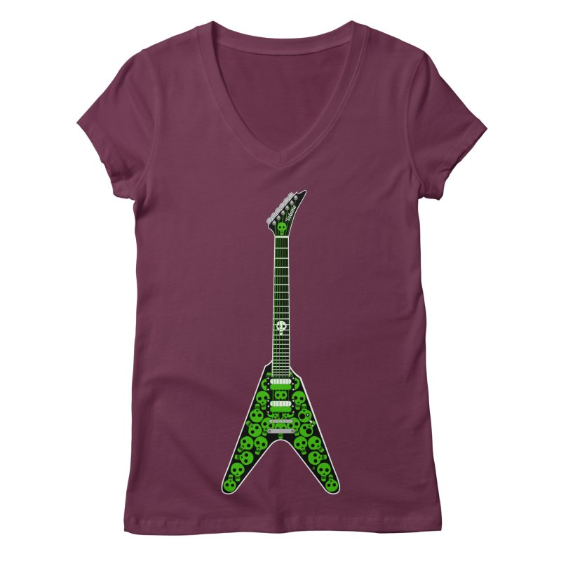 Slime Green Skulls Women's Regular V-Neck by Armando Padilla Artist Shop