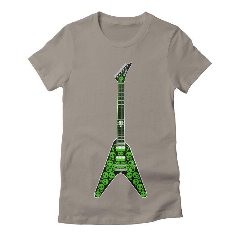 Slime Green Skulls Women's Fitted T-Shirt by Armando Padilla Artist Shop