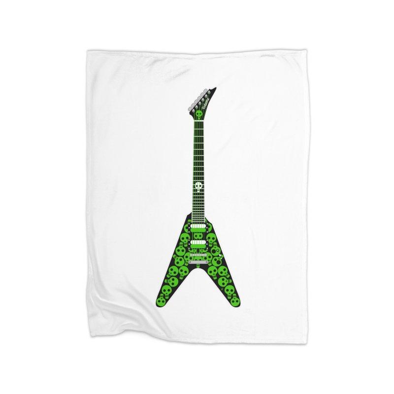 Slime Green Skulls Home Fleece Blanket Blanket by Armando Padilla Artist Shop