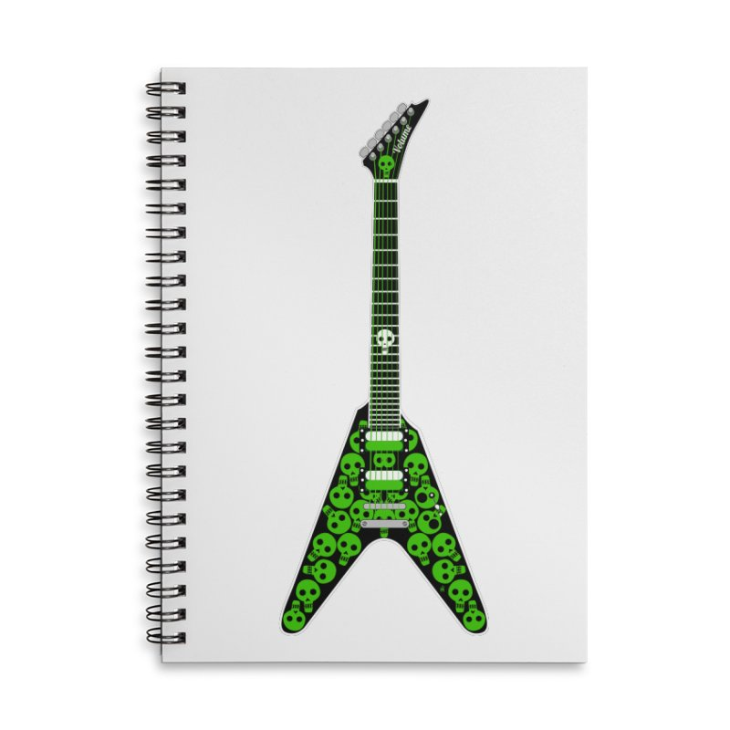 Slime Green Skulls Accessories Lined Spiral Notebook by Armando Padilla Artist Shop