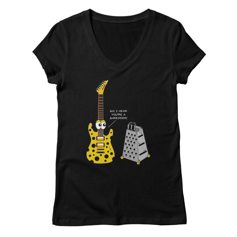 Shred Guitar Women's V-Neck by Armando Padilla Artist Shop