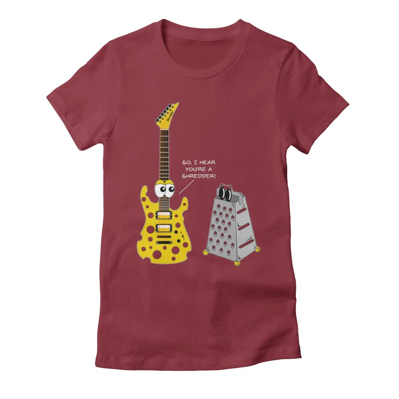 Shred Guitar Women's Fitted T-Shirt by Armando Padilla Artist Shop