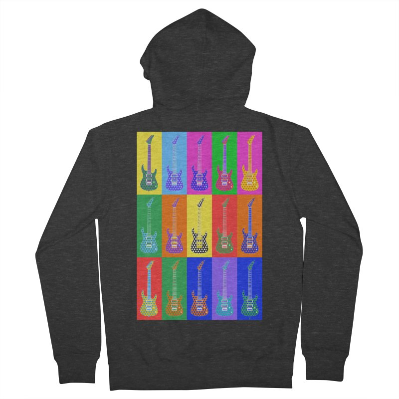 Guitar Warhol Dots Men's French Terry Zip-Up Hoody by Armando Padilla Artist Shop