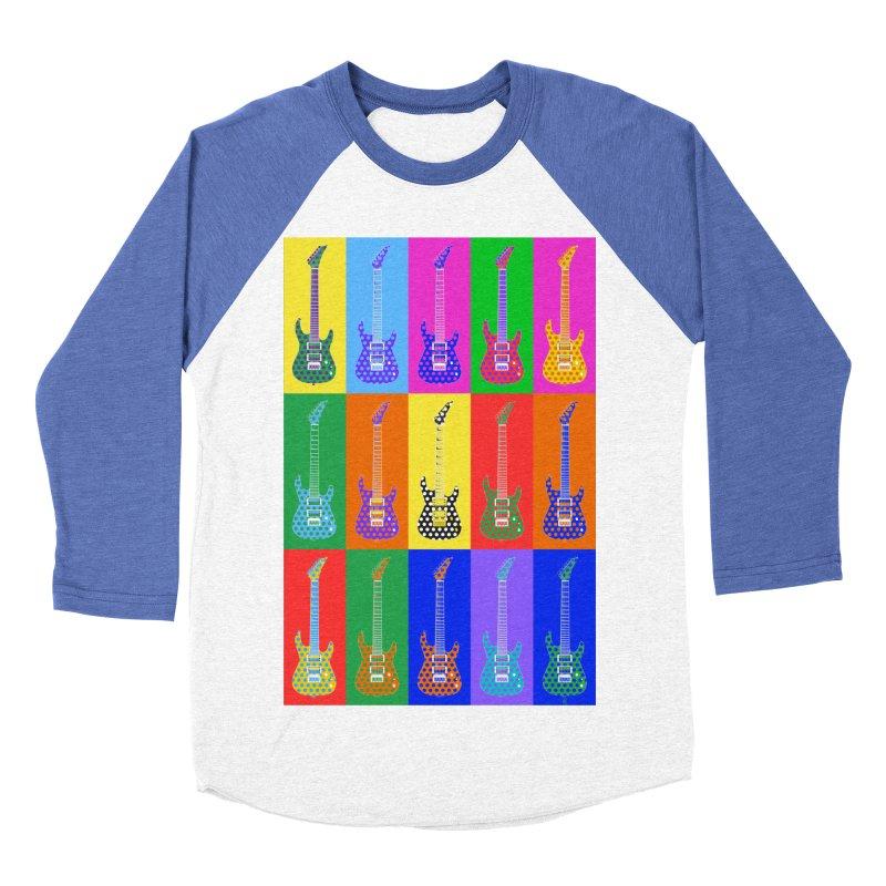 Guitar Warhol Dots Women's Baseball Triblend Longsleeve T-Shirt by Armando Padilla Artist Shop